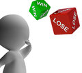 Win lose dice shows gambling and betting Stock Image