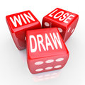 Win lose draw words three red dice competition game and on rolling in a or to illustrate uncertainty randomness and being evenly Stock Photos