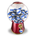 Win lottery ball dispenser lucky winner jackpot word on gum balls in a to illustrate winning a or being in a contest game or Stock Photo