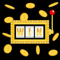 Win text. Slot machine. Golden flying money coin rain. Glowing lamp light. Red handle lever. Online casino, gambling club sign sym Royalty Free Stock Photo