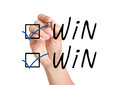 Win win check marks hand putting mark with blue pen on Royalty Free Stock Photography