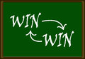 Win win concept on green board Royalty Free Stock Photo