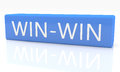 Win win d render blue box with text on it on white background with reflection Stock Photography