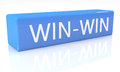 Win win d render blue box with text on it on white background with reflection Royalty Free Stock Images