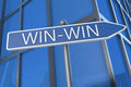 Win win illustration with street sign in front of office building Royalty Free Stock Photo