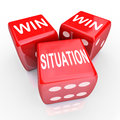Win win situation mutual benefits deal arrangement agreement words on three red dice as an or that is mutually beneficial for both Royalty Free Stock Photography
