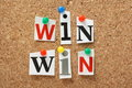 Win win situation the phrase in cut out magazine letters pinned to a cork notice board in any transaction or undertaking we look Royalty Free Stock Image