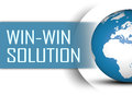 Win win solution concept with globe on white background Royalty Free Stock Photo