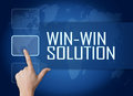 Win win solution concept with interface and world map on blue background Stock Photo