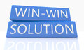 Win win solution d render blue box with text on it on white background with reflection Stock Images