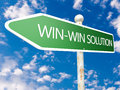 Win win solution street sign illustration in front of blue sky with clouds Stock Images