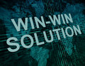 Win win solution text concept on green digital world map background Royalty Free Stock Image