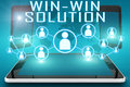 Win win solution text illustration with social icons and tablet computer and mobile cellphones on cyan digital world map Stock Photo