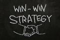 Win win strategy quotes and hand shakes drawn with chalk on blackboard Stock Image