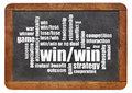 Win win strategy word cloud on a vintage slate blackboard isolated on white Stock Photos