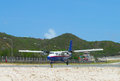 Winair dhc aircraft landed at st barths airport french west indies june on june ft its runway is one of the shortest Stock Photography