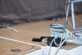 Winches and ropes, sailing yacht detail Royalty Free Stock Photo