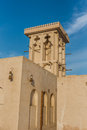 Wind catching tower a in the unesco world heritage area in sharjah united arab emirates Stock Photography