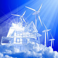 Wind-driven generators & house Stock Photo