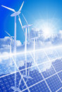 Wind-driven generators, solar power systems Stock Photos