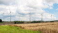 Wind energy field with installed generators Royalty Free Stock Photo