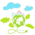 Wind energy.Global concept. Royalty Free Stock Photo