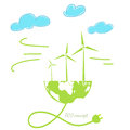 Wind energy, global concept Royalty Free Stock Photo