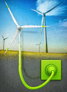 Wind energy high resolution d rendering of a concept Royalty Free Stock Photography