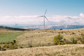 Wind energy turbines in senj croatia Stock Photo