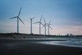 Wind Farm of Coastal in Dayuan District, Taoyuan, Taiwan. Royalty Free Stock Photo