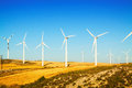 Wind farm at farmland in summer Royalty Free Stock Photo