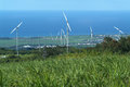 Wind farm at reunion island on france Stock Photo