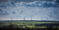 Wind Farm Turbines on Horizon Yorkshire England Royalty Free Stock Photo