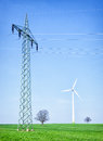 Wind generator modern in front of blue sky Royalty Free Stock Photo