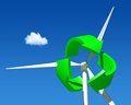 Wind generator turbine over blue sky green renewable energy Stock Photo