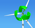 Wind generator turbine over blue sky green renewable energy Royalty Free Stock Image