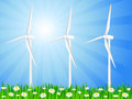 Wind generators grassy field Royalty Free Stock Photo