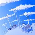 Wind generators & houses Stock Photography