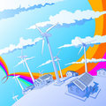 Wind generators & houses Stock Images