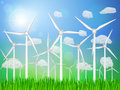 Wind generators landscape on a grassy field Stock Photo