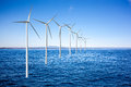 Wind generators turbines in sea the Royalty Free Stock Photo