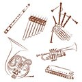 Wind instruments collection. Outline illustration Royalty Free Stock Photo