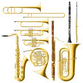 Wind instruments layered vector illustration of collected Stock Photos