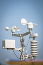 Wind meter anemometer measures the speed on blue sky Royalty Free Stock Photos