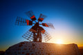 Wind mill ancient fuerteventura canary islands spain Royalty Free Stock Images