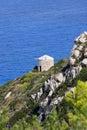 Wind mill, Lefkas, Greece Stock Photos