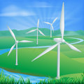 Wind power energy illustration of a farm generating and electricity Royalty Free Stock Photos