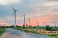 Wind power installations in agriculture the country Royalty Free Stock Photo