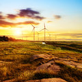 Wind power silhouette of station on sunset Royalty Free Stock Photography