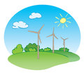 Wind power turbines and nature vector green with sun illustration Stock Images